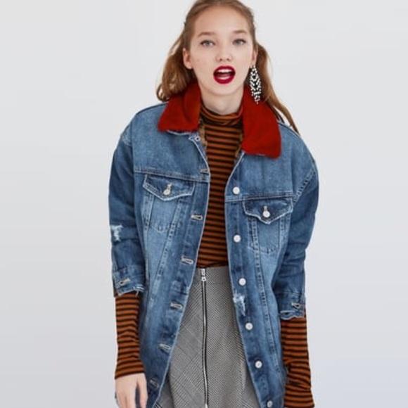 NWT Zara Long Denim Jacket with Faux Fur Collar